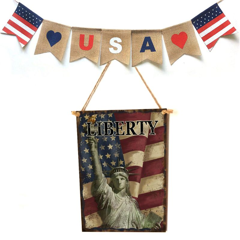 Vintage Wooden Hanging Plaque Liberty Sign Board Wall Door Home Decor Independence Day Party Gift-in Plaques & Signs from Home & Garden