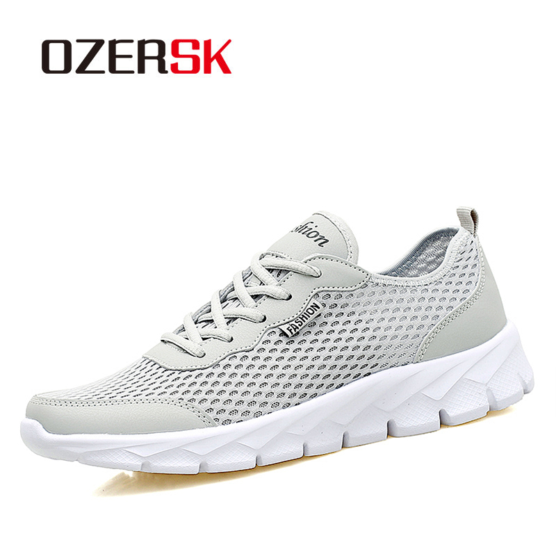 OZERSK Fashion Men Casual Shoes 2020 Spring Summer Breathable Mesh Lace Up Flats Mens Shoes Male Sneakers Big Plus Size 35-48