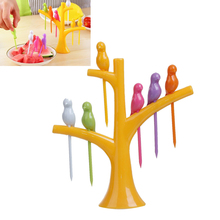 DoreenBeads Multicolor Bird Yellow Branch Pattern Plastic Salad Servers Fruit Vegetable Pick Tool Kitchen Tool,  6PCs/Pack