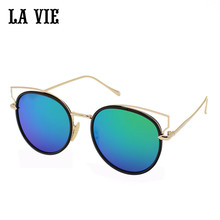 LA VIE New Fashion Sunglasses Women Popular Brand Bright Coating Designer Sunglasses Summer HD Lens Vidrios De Las Mujeres #824