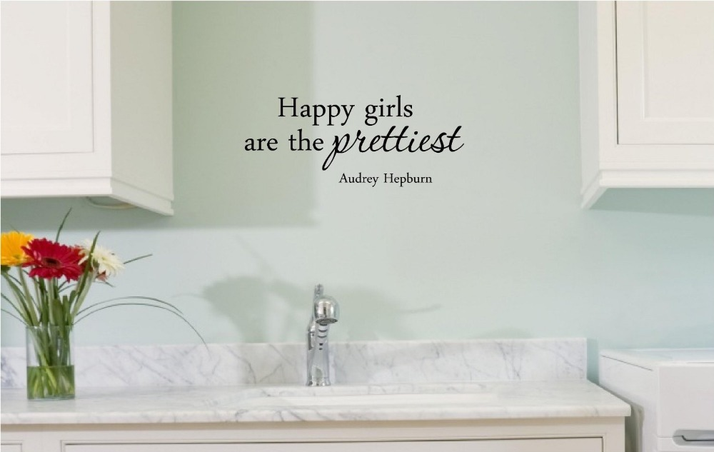 Audrey Hepburn Inspirational quotes Waterproof home decor Removable decal  wall sticker. Happy girls are the prettiest.