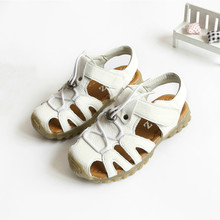 Boys Sandals Closed Toe Summer Beach Shoes Students Genuine Leather Soft Sole Baby Sandals Kids Shoes White Brown Size 26-31