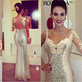Lantejoulas Formal Longo Sereia Vestido de Renda do baile de Finalistas Da Dama de Honra Pageant Partido Vestido