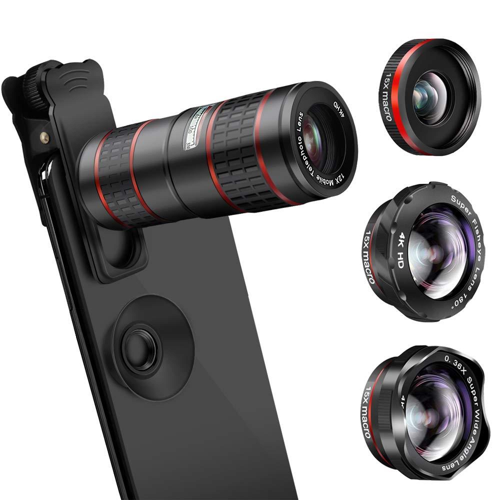 Mise à niveau des kits de caméra de téléphone DSLR Lent: Super Fisheye & 0.36X grand Angle & 15X Macro objectif (2 objectifs) & 12X Zoom téléobjectif pour Android - 6