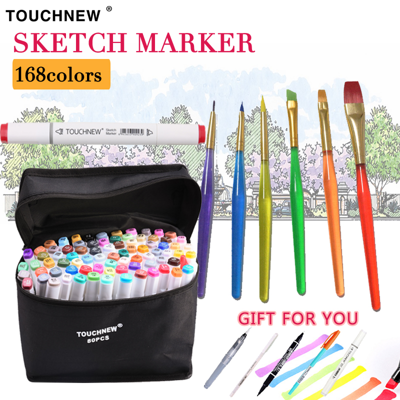 TOUCHNEW 30/40/60/80/168Colors Art Markers Pen Set Dual Head Sketch Markers Pen For Drawing Manga Markers Design Art Supplies dainayw 12 cool grey colors marker pen grayscale dual head art markers set for manga design drawing school student supplies