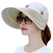 7ec62c31f71d6 2018 Mulheres Ampla Grande chapéu da Borda Floppy Summer Beach Sun Chapéu  de Palha Botão Cap chapéu Das Mulheres Chapéus de Verã.