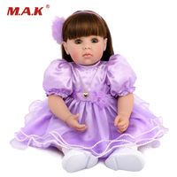 Cute 50CM Soft Vinyl Reborn Girl Dolls with Purple Princess Dress Realistic Dolls Gifts Toys Collections