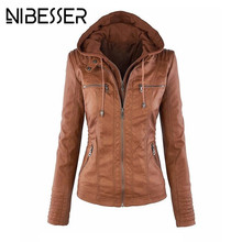 NIBESSER Faux Leather Jacket Women Autumn Winter 2017 Long Sleeve Hooded PU Jacket Coats Motorcycle Overcoats Plus Size 5XL Z30