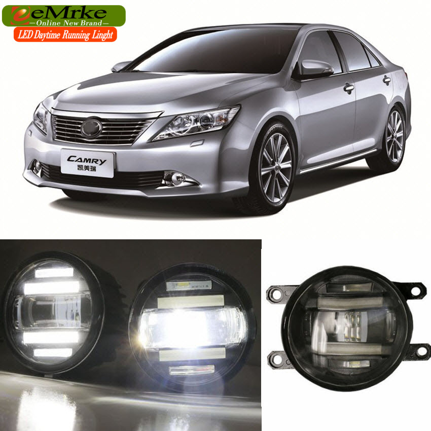 eeMrke Xenon White High Power 2in1 LED DRL Projector Fog Lamp With Lens For Toyota Camry 2011- up eemrke xenon white high power 2 in 1 led drl projector fog lamp with lens daytime running lights for renault kangoo 2 2008 2015
