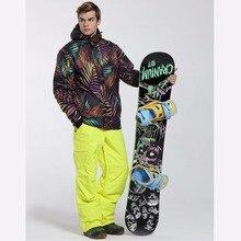 Men Ski Suit Gsou Snow Band Windproof Waterproof Outdoor Sport Wear Camping Riding Skiing Snowboard Super Warm Jacket+Pants Set