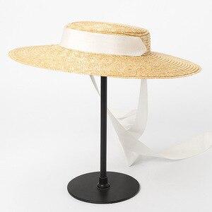 Image 3 - רחב ברים מגבעת כובע 10cm 15cm אפס מקום קש כובע שטוח נשים קיץ קנטאקי דרבי כובע לבן שחור סרט עניבת שמש כובע חוף כובע