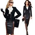 Mulheres Colorblock elegante Saia De Couro Verão Cintura Alta Equipados Vestir para Escritório Trabalho Bodycon Formal Saia Lápis Na Altura Do Joelho