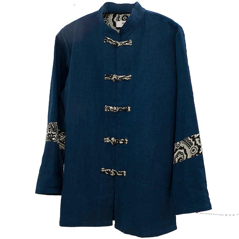 Chinois traditionnel oriental vêtements veste automne haut manches longues kungfu haut avec bouton tangzhuang chemise en lin - 2