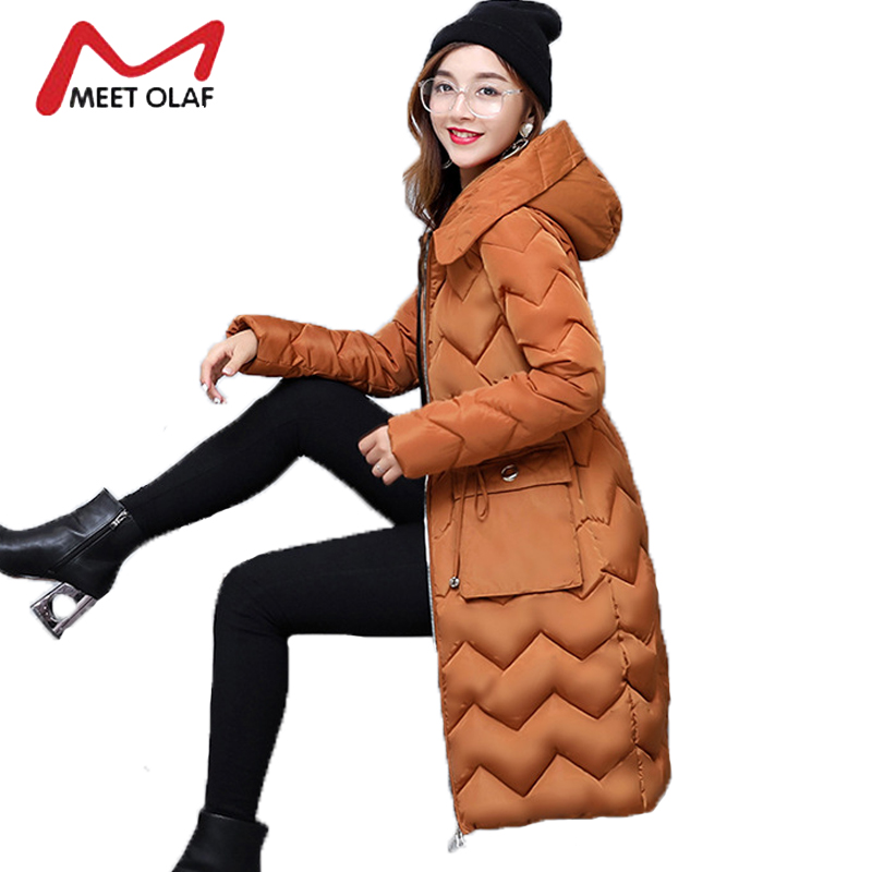 2017 Winter Coats Hooded Women Down Jackets Female Long Slim Cotton Padded Parkas New casacos de inverno feminino jaqueta Y1341 2017 winter new hot fashion female zipper hooded long down cotton padded jackets parkas women thick warm long sleeve slim coats