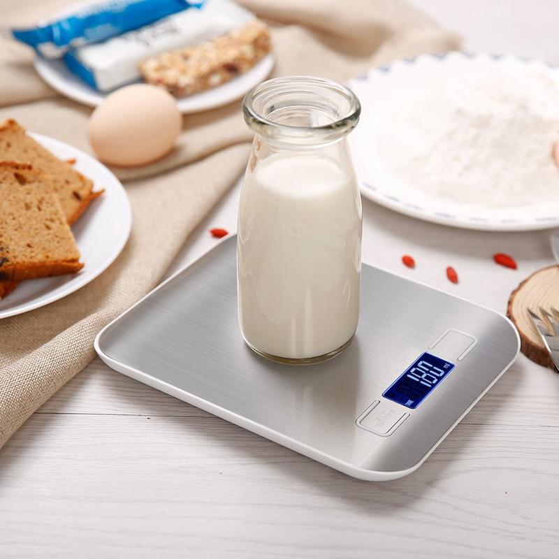 Цифровые кухонные весы с платформой из нержавеющей стали, 10 кг/5 кг, 5000 г, измерительный инструмент для диеты, баланса веса, ЖК-дисплей с подсветкой-4