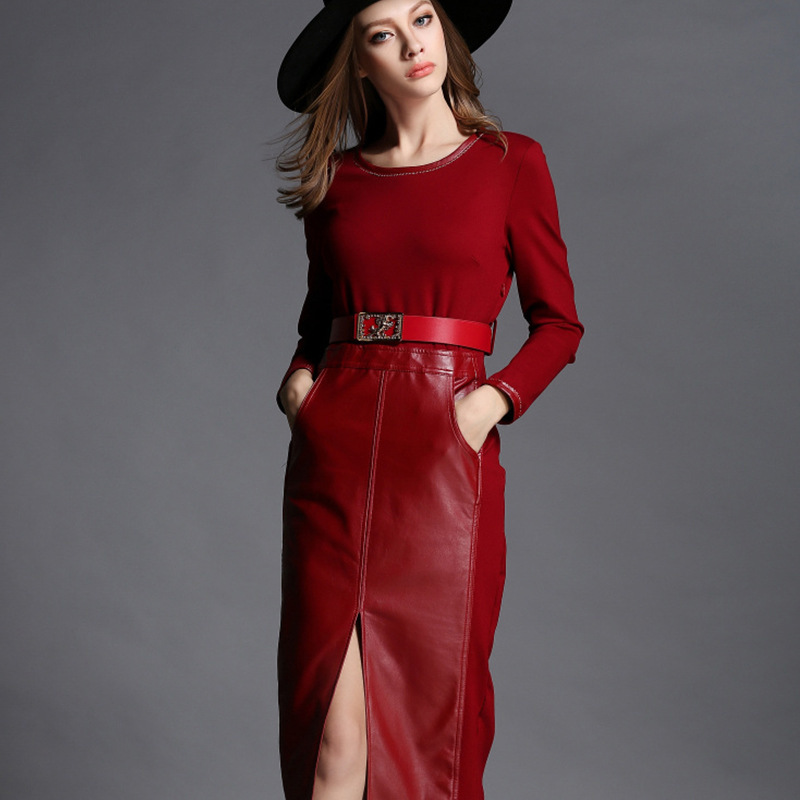 FEIBUSSHI Vintage Leather Dress Red Long Sleeve Dress Women 2017 Autumn Female Party Bodycon Casual Dresses Plus Size