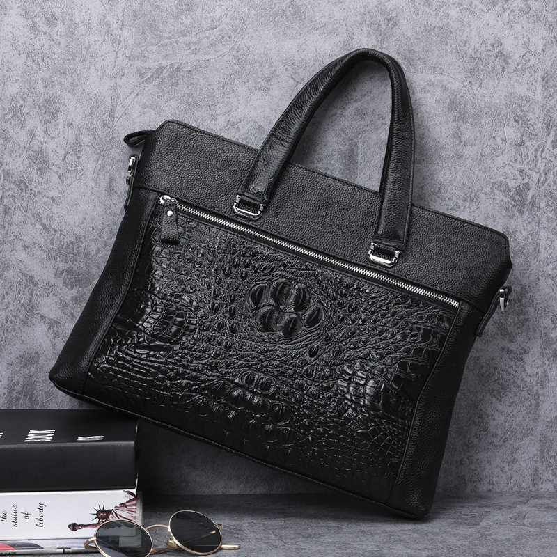 Special Offer Natural Cow Leather Men Handbag Black Laptop Bag Luxury Alligator Pattern Genuine Leather Business Briefcase