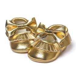 Детские Обувь 2017 для маленьких девочек бантом Ленточки Обувь малыша мягкая подошва Спортивная обувь Повседневное Обувь детские мокасины