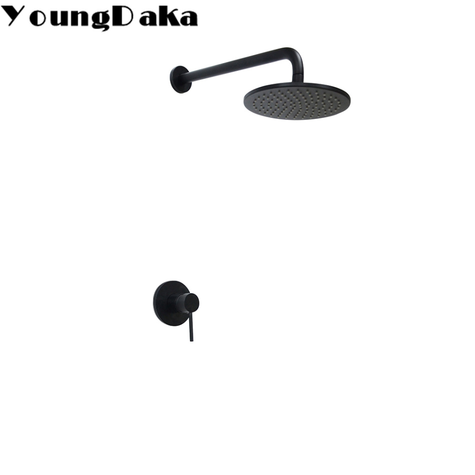 YoungDaka Brass Black 8 Inch Round Rainfall Shower Head Set Bathroom Hot and Cold Wall Mounted Shower Mixer Valve Faucet + Arm