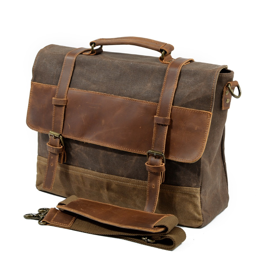 M275 Mens Messenger Bag Waterproof Canvas Leather Men Vintage Handbags Large Satchel Shoulder Bags 14