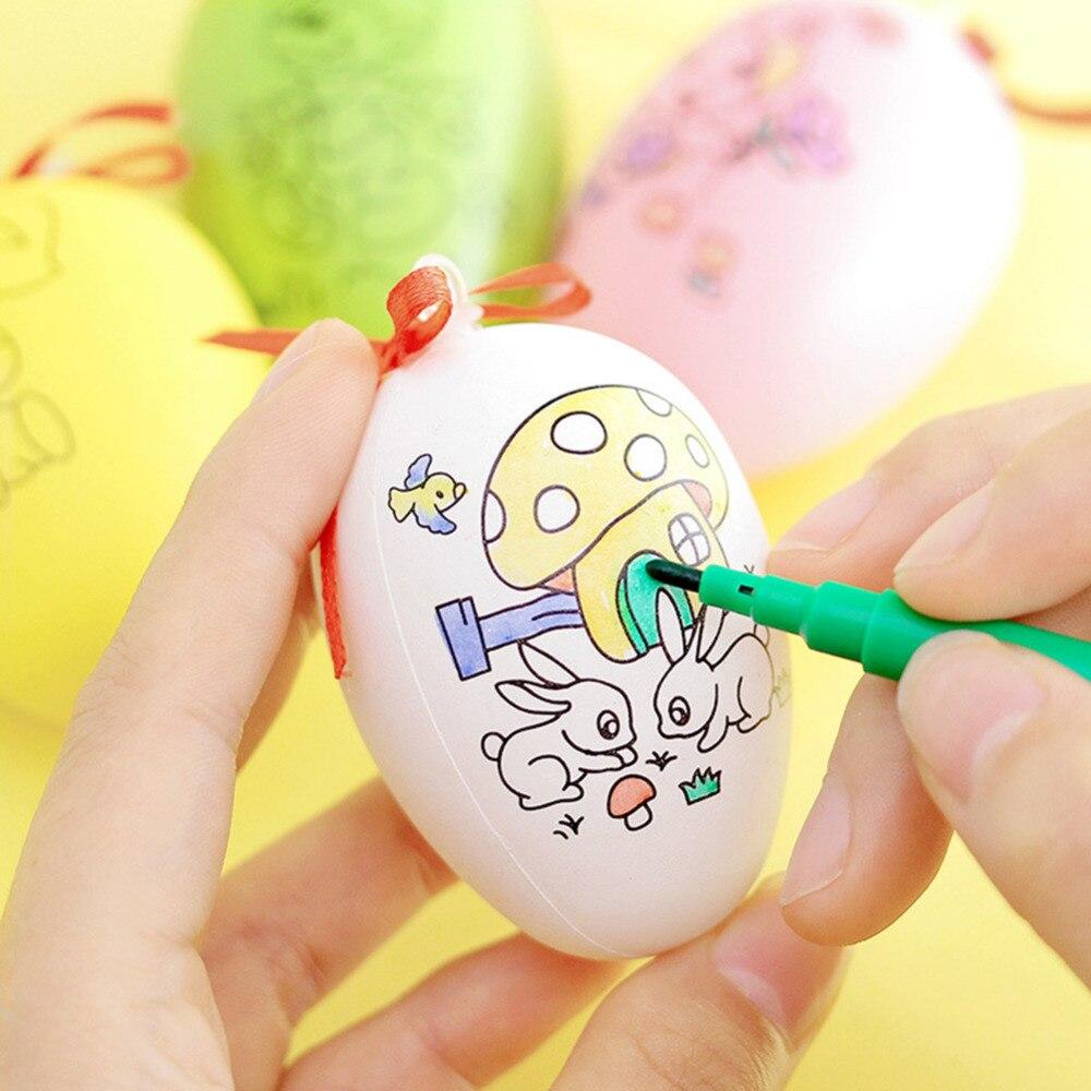 1 Stück Diy Bunte Malerei Eier Mit 4 Stücke Malerei Stifte Hand Making Ostern Ei Spielzeug Kinder Pädagogisches Spielzeug Gelegentliche Farbe Weniger Teuer