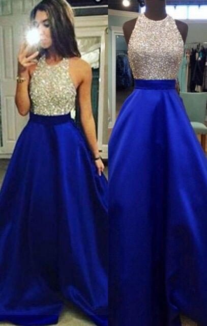 cf75c1769 Diamante Halter Azul Preto Das Mulheres Da Dama de honra Vestido Longo Sem  Mangas Graça Vestido
