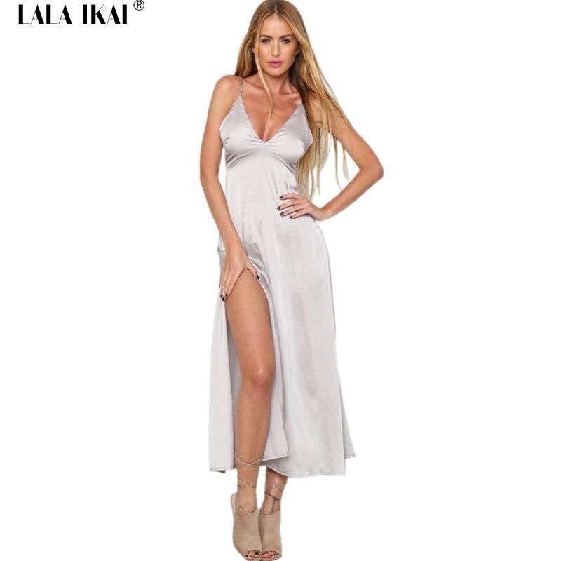 ec88c8126d7c 2018 Estate Retro Abito di Raso Donne Scollatura Collo Tunica Abiti di Alta  Split Maxi Vestito Delle Donne Sexy Femminile Vestito Da Slittamento  QWA0795 5 ...