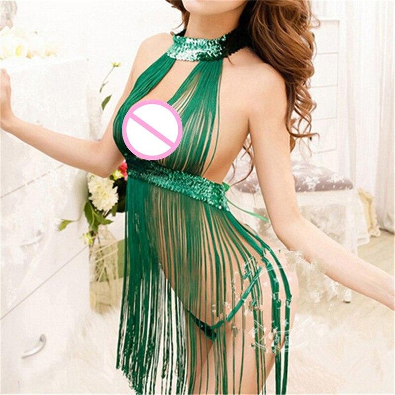 Women Green Tassels Sexy Lingerie Backless Babydoll Underwear High Waist Lace Up Bow Sleepwear Sexy Costumes 2018 New Nightdress