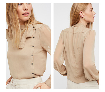 OL Solid Color Semi-Sheer Sexy Women Shirts neckline Lace-up unilateral Single Breasted Lady Top elegant Style Casual Blouses