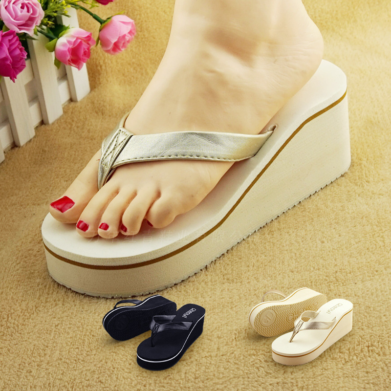 2016 New Korean Fashion Leather Slippers  With High-Heeled Summer Muffin Beach Pinch Flip Flops