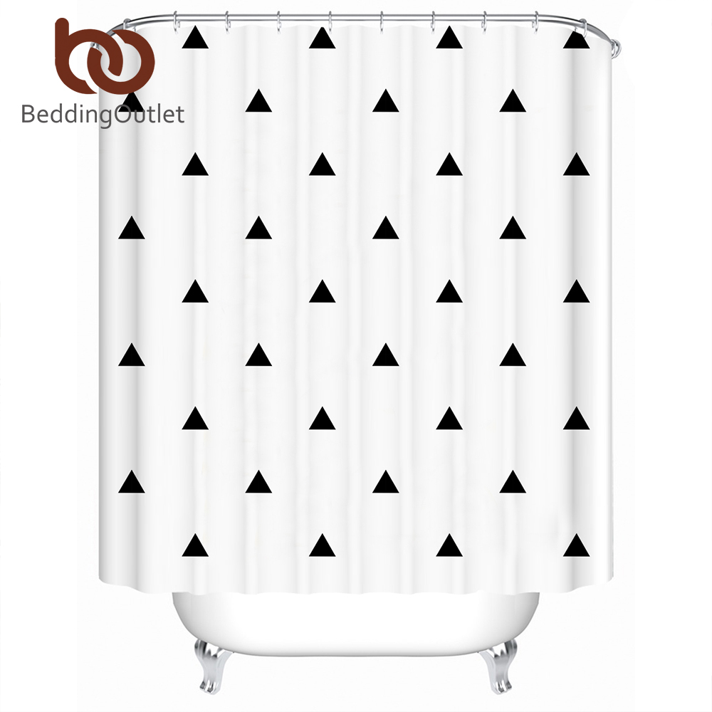BeddingOutlet Geometric Shower Curtain Waterproof Polyester Striped Bathroom Curtain With Hooks Classical Home Decoration