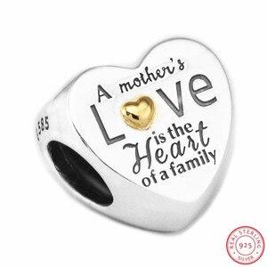 Image 2 - Kalp aile boncuk kadınlar takı yapımı için DIY Fit PANDORA Charms gümüş 925 & 14K altin değil kaplama anne hediye FL596K