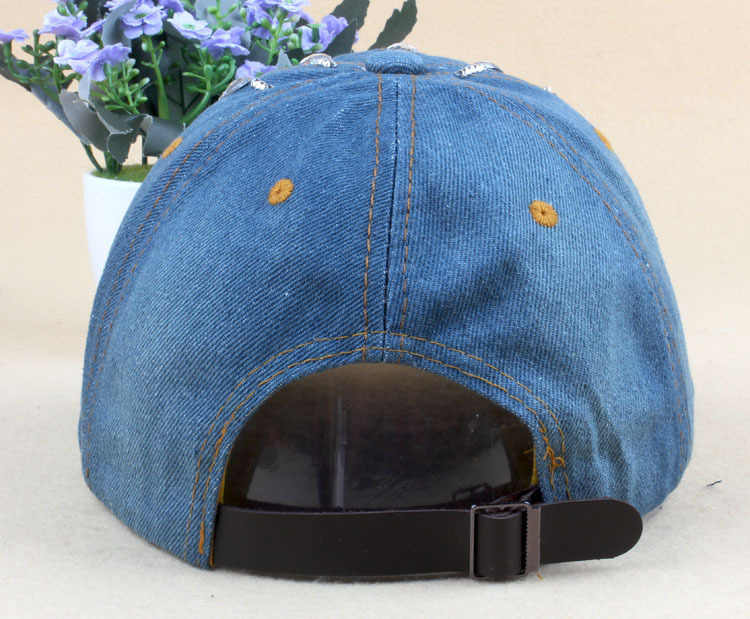 ... Brand New Denim Hats Fashion Leisure Woman Cap With Water Drop Rhinestones  Vintage Jean Cotton Baseball ... ae592f811fdf