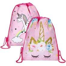 6d163376d538 Единорог шнурок мешок для девочек Путешествия хранения посылка мультфильм школьные  рюкзаки Детские сувениры для вечеринки ко