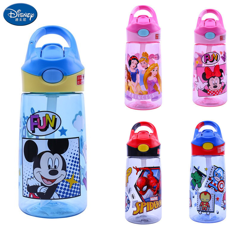 Disney Children Mickey Minnie Spider-Man Princess Portable Bottle Cartoon Straight Drink Cup Safety Leakproof Cup 460ml