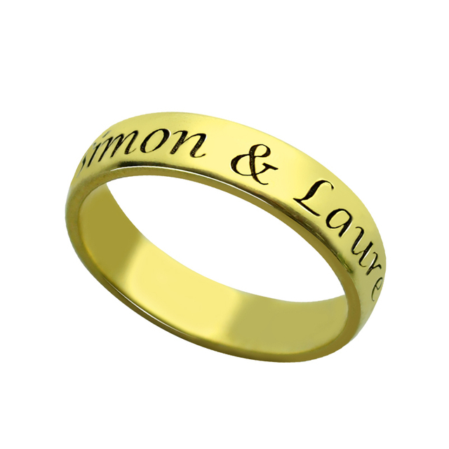 Finest Engraved Name Message Ring Gold Color Personalized Message Ring  KR15