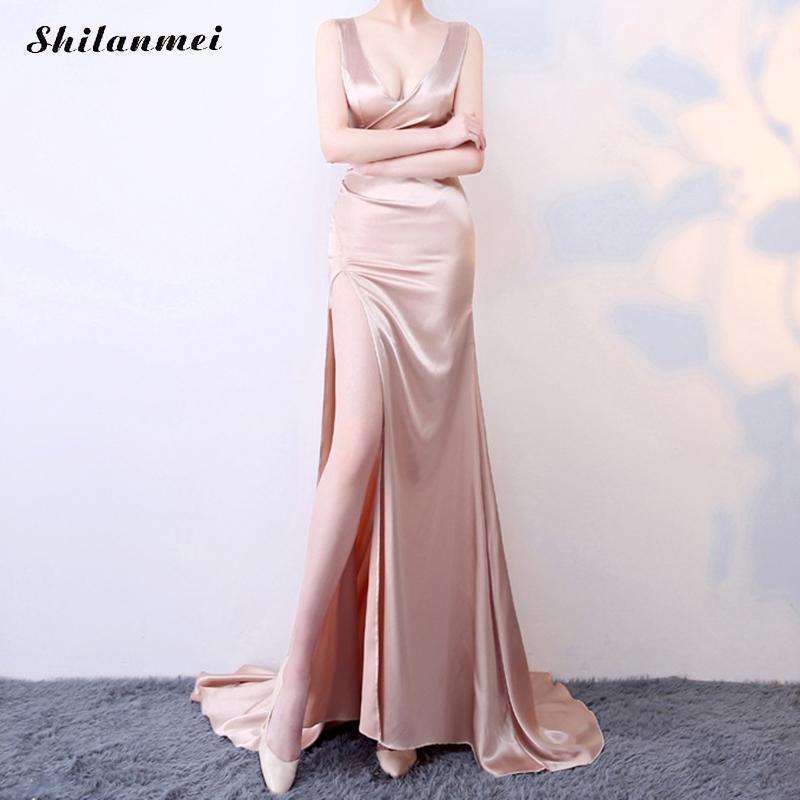 Sans Longues Profond Vintage Rose Dos Longue Manches Latérale V De Partie Sexy Soirée Robe Femme Mode Fente Nu Nouvelle Robes qvSRHH