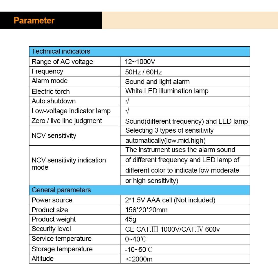 PEAKMETER Non-Contact Tester Pen PM8908C 12-1000V AC Voltage Detectors  Tester Meter Volt Current Electric Test Pencil