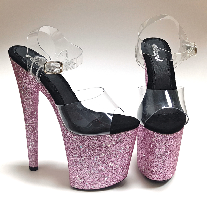 Leecabe Pink Glitter heels Womens Platform Sandals Pole Dancing Shoes 20cm/8Inch High Heels Shoes party pole dance shoeLeecabe Pink Glitter heels Womens Platform Sandals Pole Dancing Shoes 20cm/8Inch High Heels Shoes party pole dance shoe