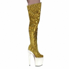 20 cm thick base hate sky-high shoes, stage performance high heel knee boots gold sequined dance shoes, noble temperament boots