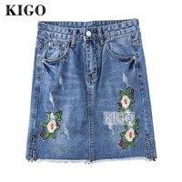 KIGO Casual High Waist Denim Skirt Blue Light Wash Floral Embroidery Mini Jeans Skirt 2018 Sexy