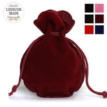 цены 10pcs/lot Fashion 7*9cm Velvet Bag Drawstring Pouch Black/Red Calabash Jewelry Packing Bags Wedding/Christmas Gift Bag F3991