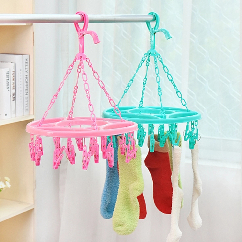 New Round Plastic Folding Clothes Hanger 17 Clothes Hanger Socks Hanger Colorful Windproof Fashion Dryer Hanger Rack