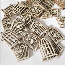 10/50pcsWooden Birdcage Slices For Home Photo Ornamen Wood Accessories Embellishments for Art DIY Crafts DIY Scrapbooking About(China)