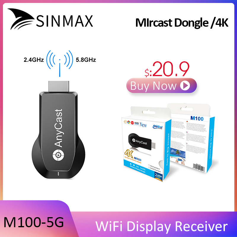 Pas cher!! M100-5G TV Bâton Anycast 4 K HDMI Récepteur Dongle Pour Windows Android IOS MAC Miracast DLNA Airplay Anycast WiFi Affichage