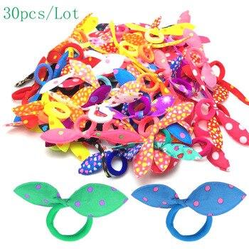 30pcs/lot Rabbit ears Hair band Children kids Hair Accessories Scrunchies Elastic Hair Band for women girl rubber band
