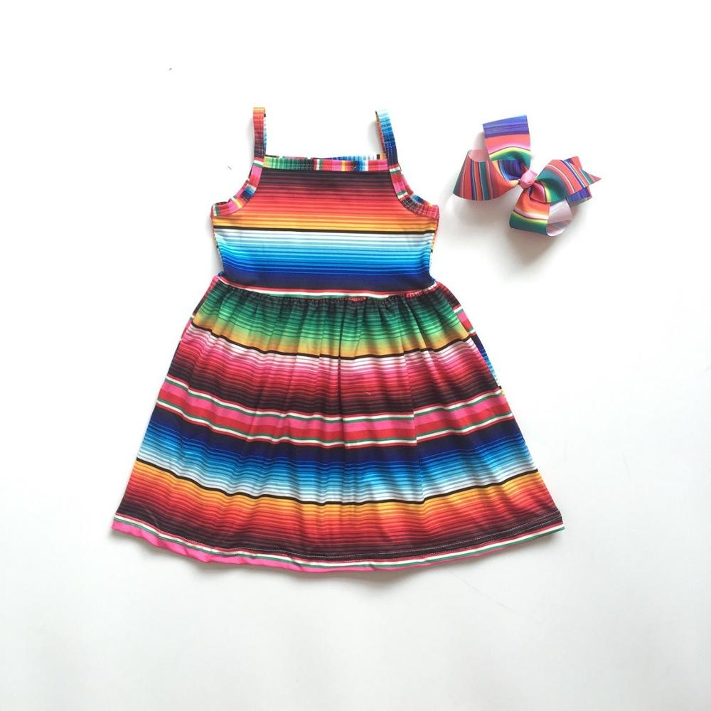 Dress Striped Baby-Girls Children Summer with Colored Boutique Clothing Bow New-Arrivals