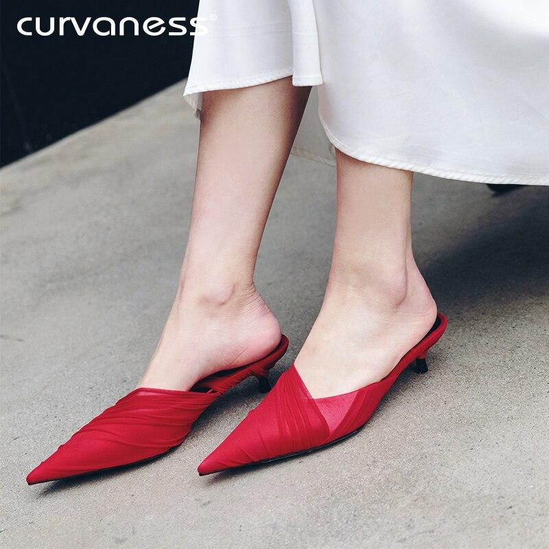 Bout Tendance Dames Hauts Chaussures D'été rouge Femmes Décontracté Talons 2019 À Pantoufles Suédé En Nouveau Moyen Mules Designer Cuir Noir Pointu qwCqzr