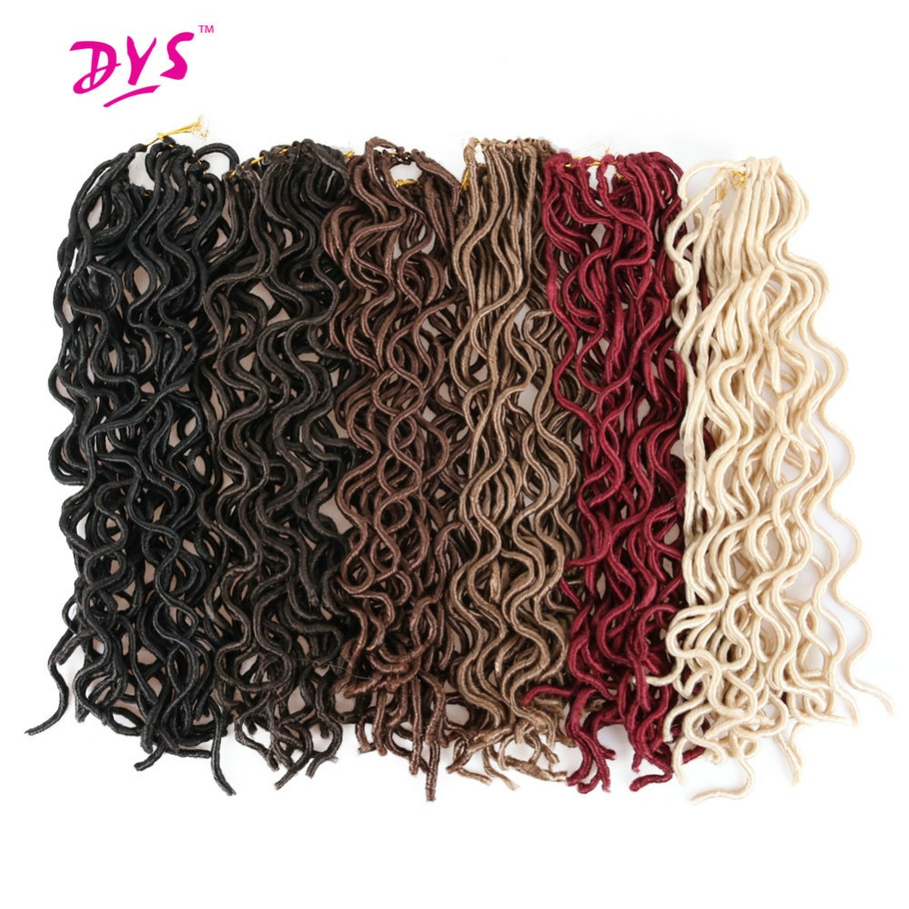 Deyngs 18inch Long Crochet Braids Hair Extension Natural Synthetic Braiding Locks Faux Locs Curly Hair 24 Strands/Pack 6 Colors