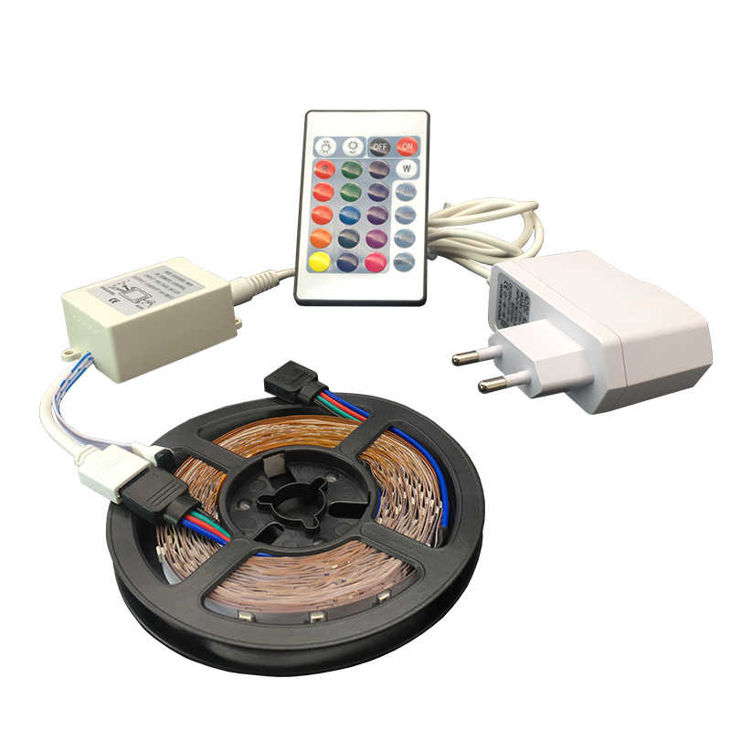 SMD3528 5M 300LEDs Flexible RGB LED Strip Light 24key IR Remote Controller 12V 2A Power Adapter Ribbon Home decoration LED strip